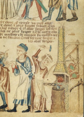 The woman blacksmith forging a nail depicted in the Holkham Bible. British Library (Public domain)