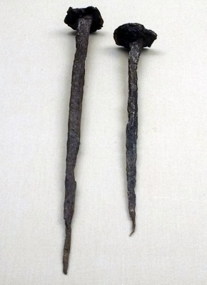 A pair of Roman nails, part of an exhibit in the British Museum.