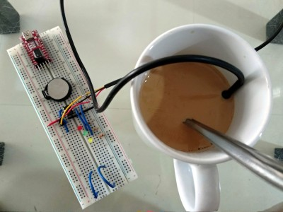 A prototype HotorNot Coffee Stirrer, showing their problem of having to maintain food-safe components.