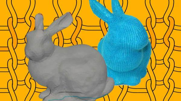 a 3d mesh of a rabbit, and a knit version of the same