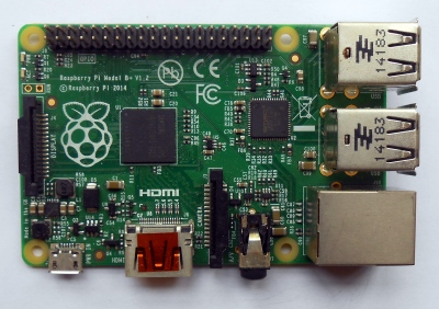 The first of the new form factor, a 2014 Pi Model B+