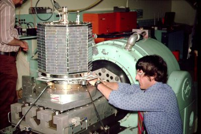 OSCAR 7 being prepared for a pre-launch vibration test. (AMSAT)
