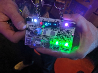 DCzia Laser Theremin Badge - front
