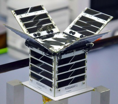 FossaSat-1, with solar panels deployed.