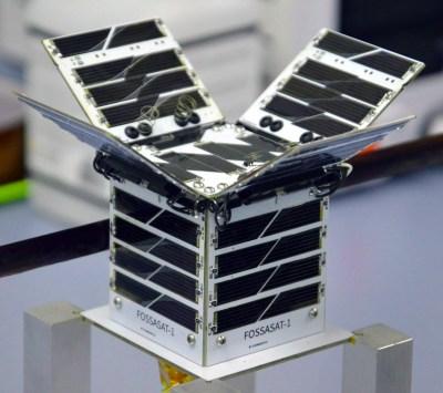 FossaSat-1, with solar panels deployed.