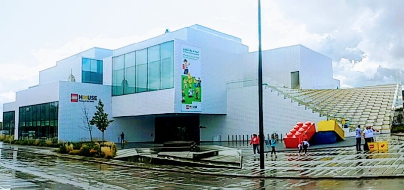 Your first view of the Lego House, in the centre of Billund.