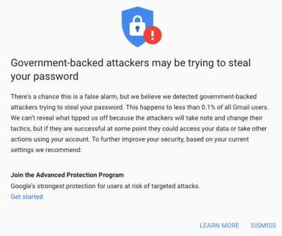 Google Attack Warning