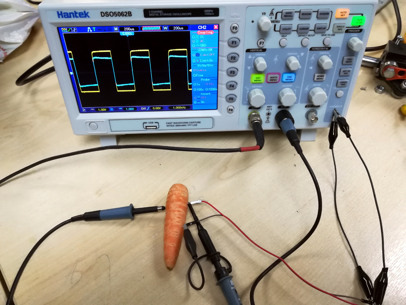 The high point of an engineer's life comes as they measure the electrical properties of a root vegetable.