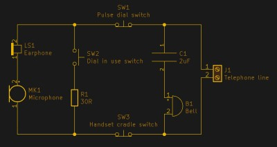 A grotesquely simplified schematic of a dial phone. In this diagram SW2 is open and SW3 is closed, so the handset is off the cradle but the dial is not in use..