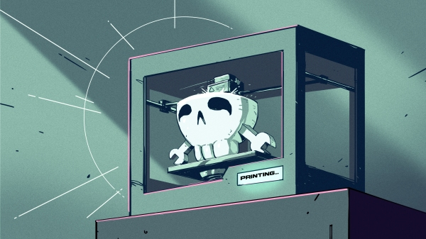 Art of 3D printer in the middle of printing a Hackaday Jolly Wrencher logo