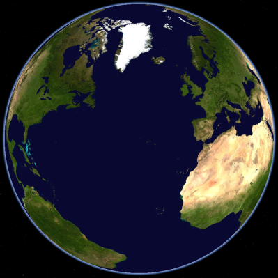 The North Atlantic ocean viewed on a spherical globe projection.