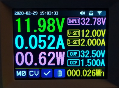 The default screen, with voltage and current readings.