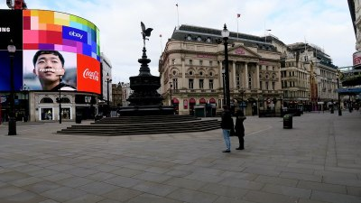 Piccadilly Circus, London, during the COVID-19 lockdown. Normally this is packed.