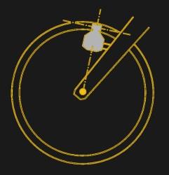 Bicycle bottle dynamo on wheel.