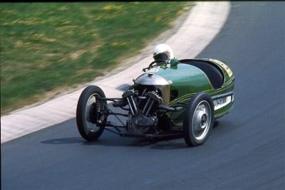 A 1933 Morgan 3-wheeler cornering at the Nürburgring in 1976. Lothar Spurzem (CC BY-SA 2.0)