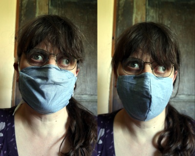 Left: pleated mask. Right: fitted mask.