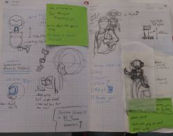 Sketchbook pages with Dexter concept drawings