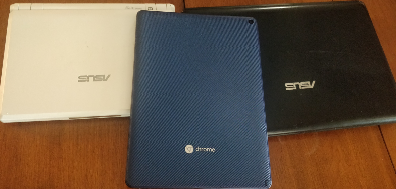 Two Asus Netbooks and a ChromeOS tablet.