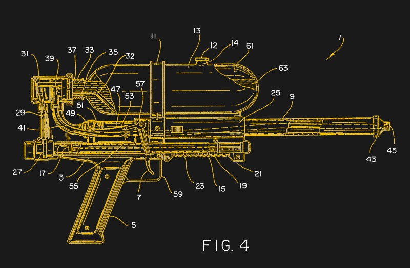 The Super Soaker, cut away to reveal its inner workings. From US patent 5305919B1.