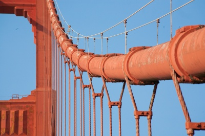 Closeup of the suspension cables of the Golden Gate Bridge in San Francisco, California.