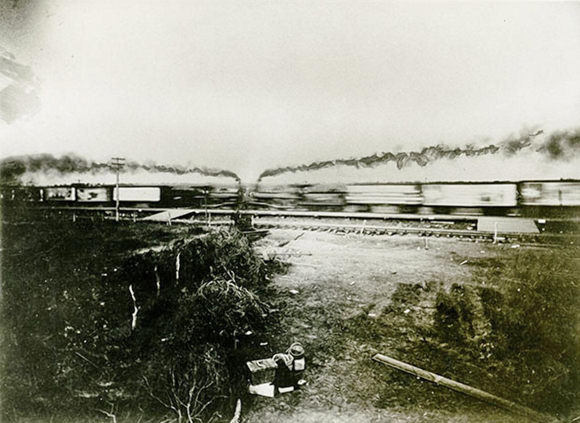 Train Wreck Steam Locomotive Crushes Car Photo