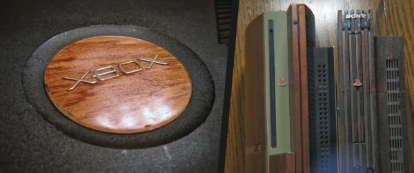 Xbox PlayStation Logos Wood Grain