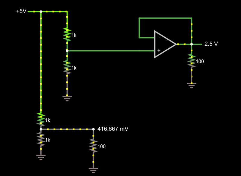 Voltage divider with and without 1x amplifier