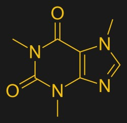 The chemical structure of a caffeine mollecule. Vaccinationist, Public domain.
