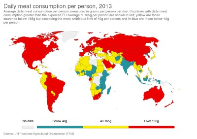 Global map showing meat consumption in 2013