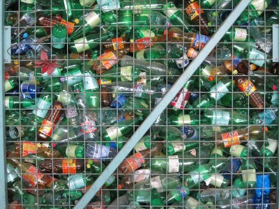 Used plastic bottles collected for recycling.