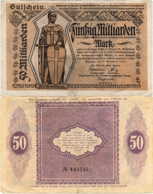 A German banknote from the period of hyperinflation