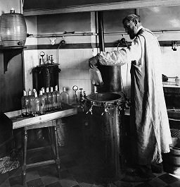 Louis Pasteur experimenting in his lab.