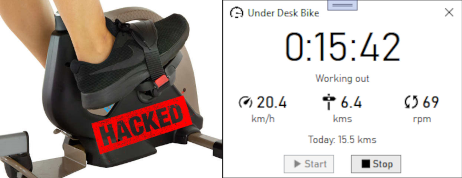 Hacker Spends a Few Cycles Upgrading an Under-Desk Bike