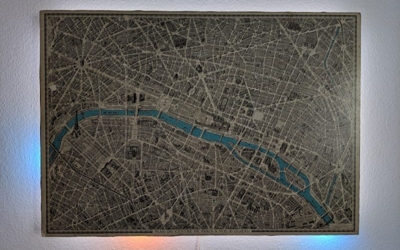 Antique Map of Paris With Modern Tech