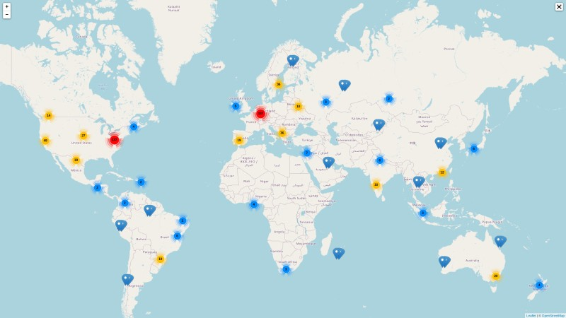 The hackerspaces.org map of the world. Map data © OpenStreetMap contributors
