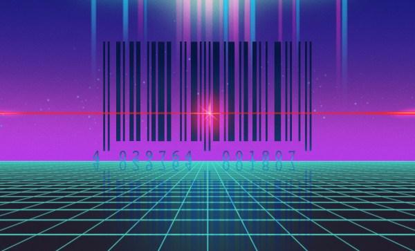 Bar code shown in a 3D plain in Vaporwave Aesthetic