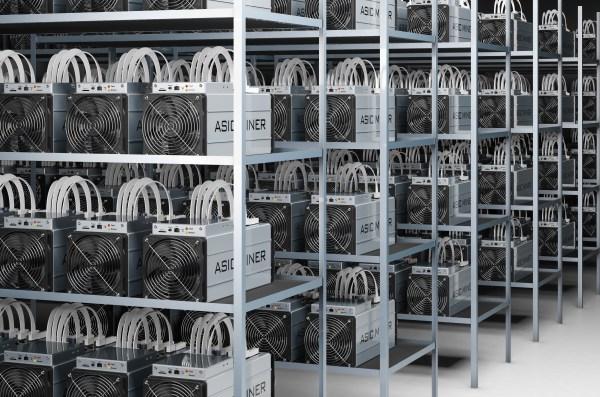 Racks of ASIC mining hardware