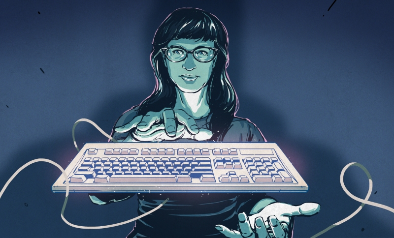 Illustrated Kristina with an IBM Model M keyboard floating between her hands.