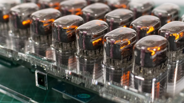 Rows of nixie tubes in clear acrylic