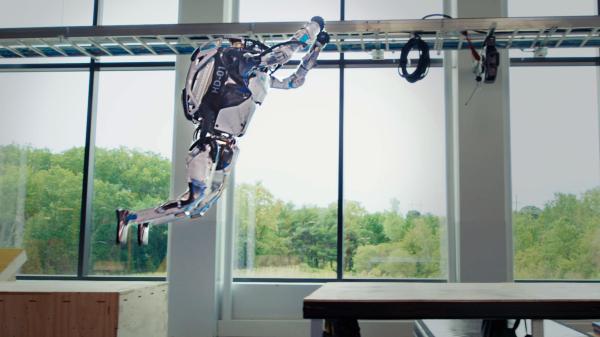 Atlas robot jumps over a gap