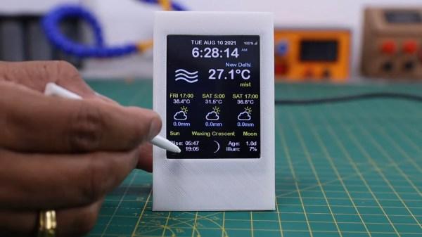 ESP8266 weather widget with touchscreen display