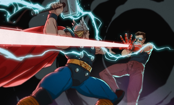 Thor does battle with a man shooting lasers from his hands