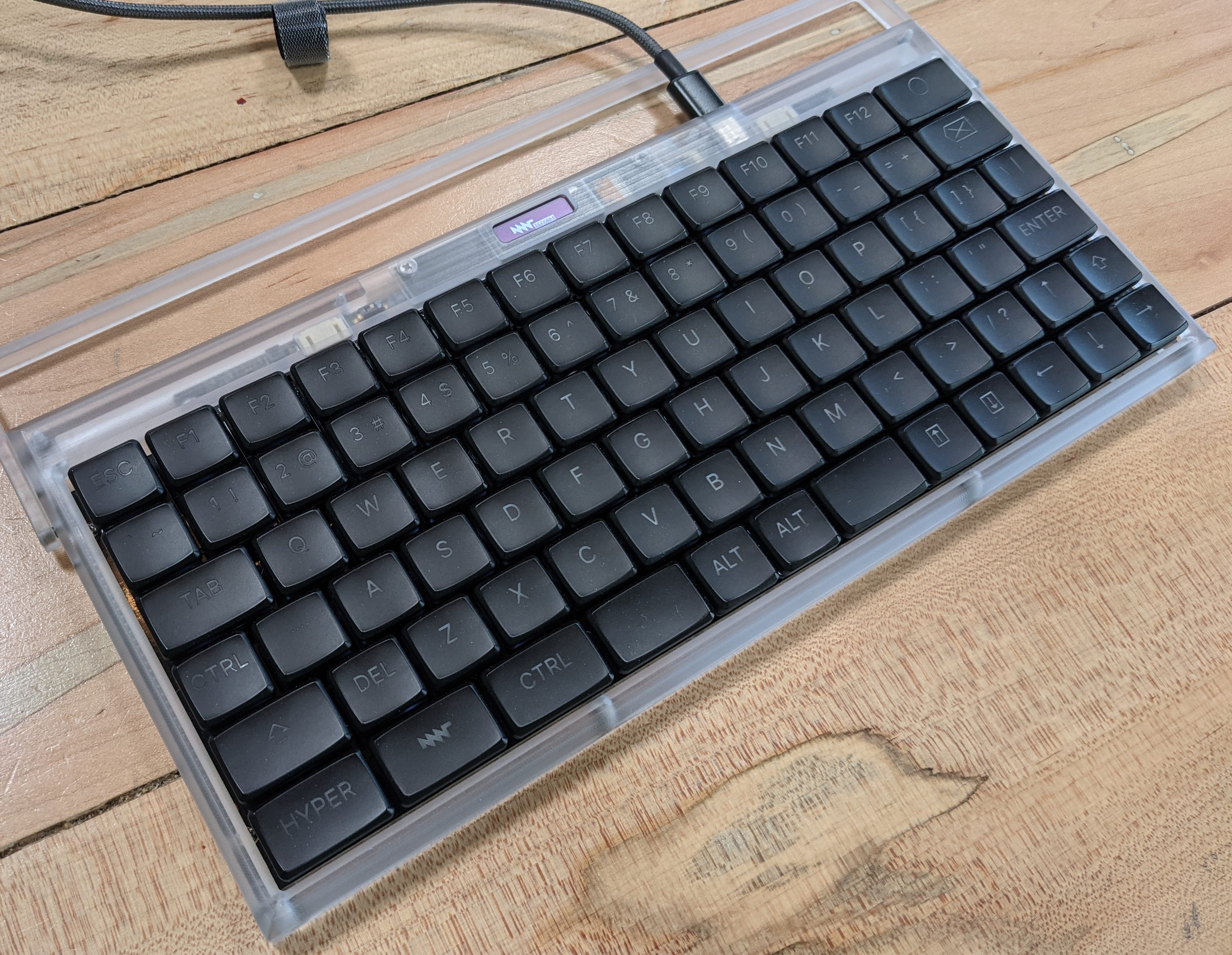 a standalone keyboard made from the keyboard in a MNT Reform laptop