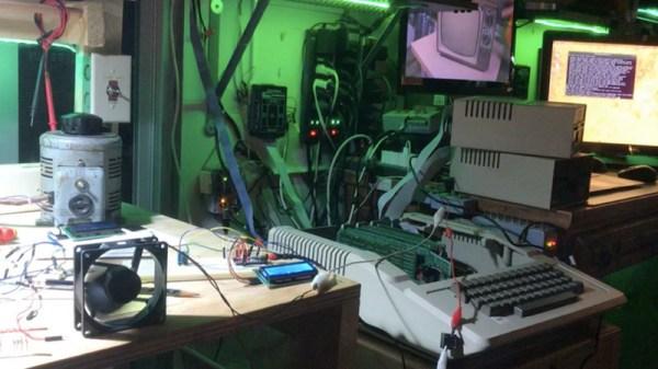 Apple II computer on a workbench