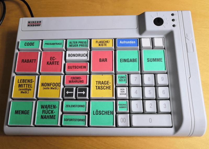 Cash register keyboard
