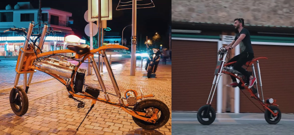 Extending bicycles can lift it's rider a meter into the air on four pneumatic pistons