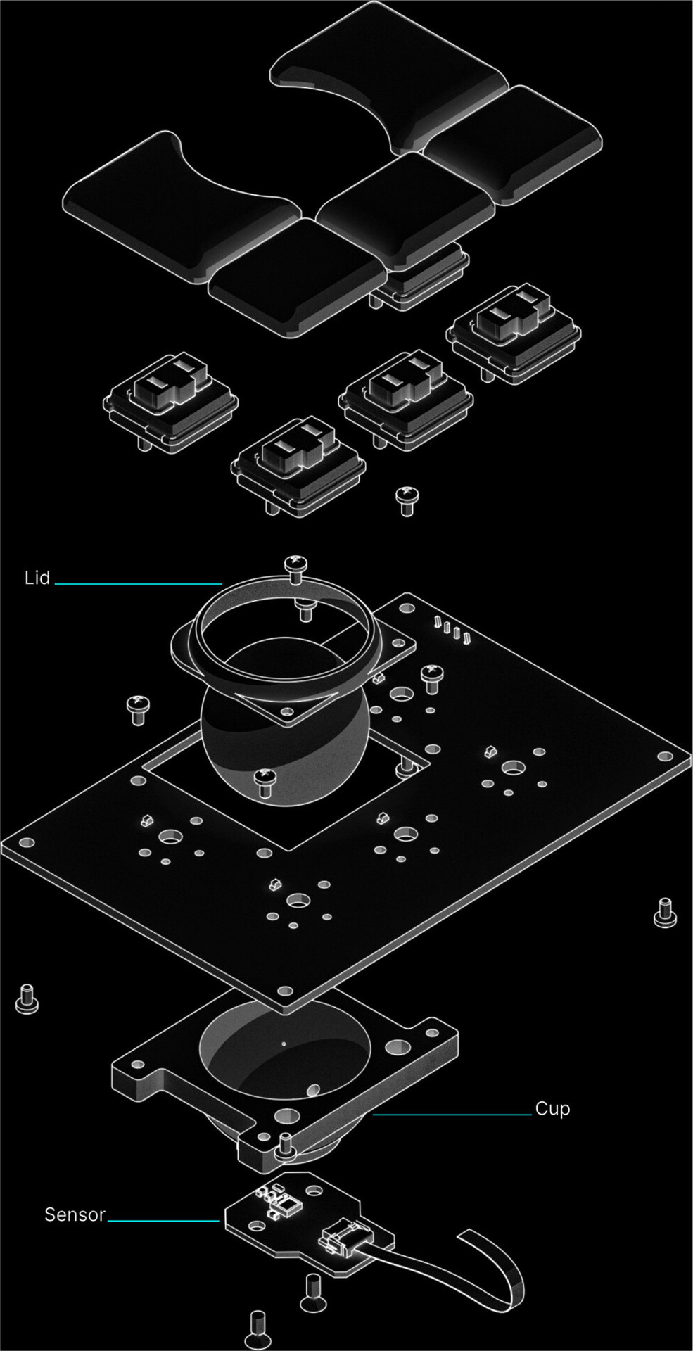an exploded mechanical drawing of the Reform trackball module