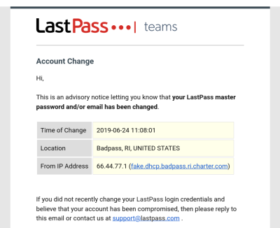 LastPass email notification