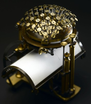The Malling-Hansen Writing Ball, the first commercially-available typewriter before the Remington I, which introduced the QWERTY layout.