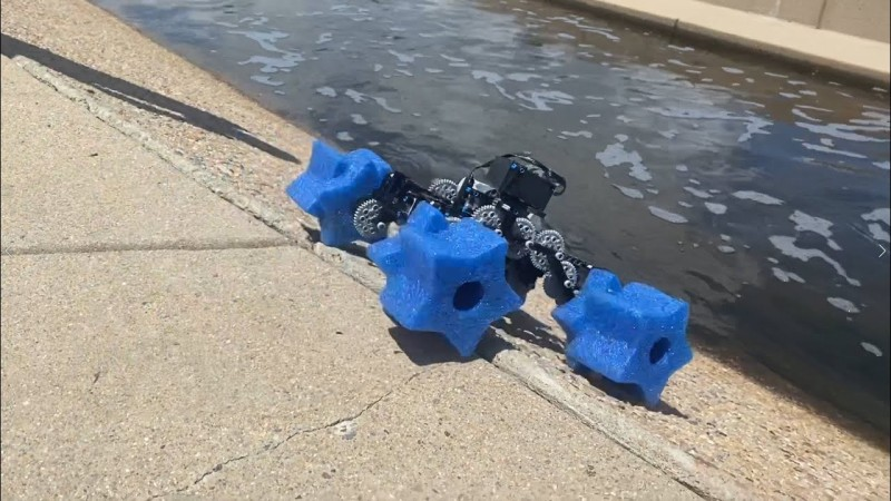 Robot with star shaped wheels made of foam.